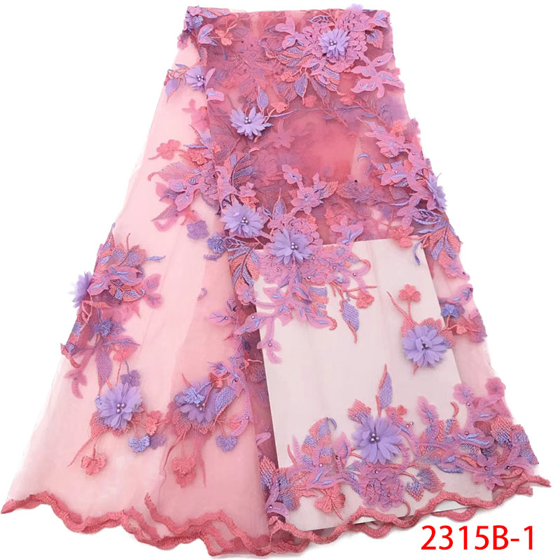 High Quality French Tulle Lace 2019 Latest African Lace Fabric 2019 Lace 3d Flowers Beaded Fabric