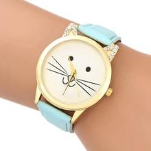 2018 Naiste kellad Tüdruk Quartz Watch Armas kass nägu Käekell Naiste mood Vabaaja õpilane Cartoon Kass kõrvad Nahk Relogio