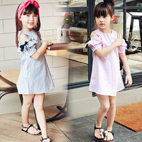 2016 Summer New Princess Girl Dress Kids Striped Bow Dress Children Clothing Off Shoulder Dress Girls
