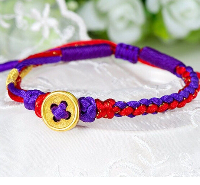 Hot sale New Real 24K Yellow Gold Bracelet /Perfect Knitted button Chain Bracelet/ 1.5g 2018 hot sale real one l
