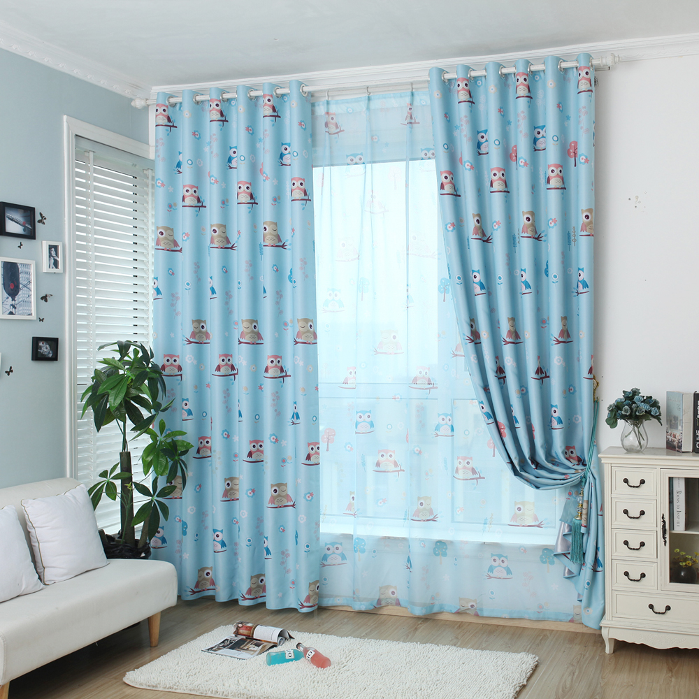 Blue bedroom window curtains - Cartoon Owl Blue Shade Blinds Blackout Curtains For Kids Bedroom Windows Curtains For Living Room
