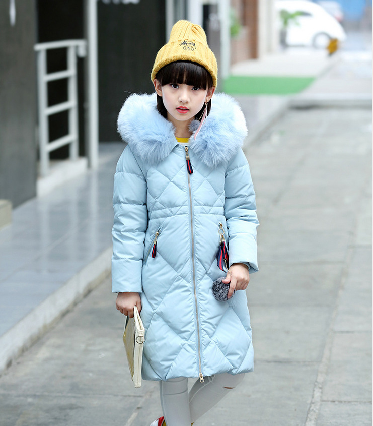 Russia Winter Girl Down Jackets Children Long Sections Duck Down Coats Warm Hooded Fur Collar Outerwears -30 Degree Jacket christmas long hooded jacket girl 90% white duck down coats kids tops teenage girls winter jackets and coats children outerwears