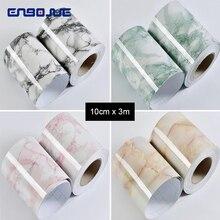 0.1X3M Marble Wall Stickers Self-adhesive PVC Waterproof Tile Bathroom Toilet Kitchen Decor Diy Border Wallpaper