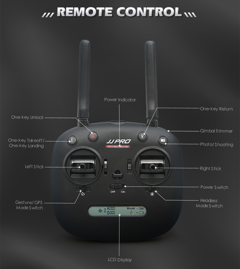 JJRC JJPRO X5 RC Drone 5G WiFi FPV Drones GPS Positioning Altitude Hold 1080P Camera Point of Interesting Follow Brushless Motor 25