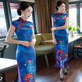 Long Satin Cheongsam Dress Tavas Robe Chinoise Women Qipao Plus Vintage Blue Evening Dress Vestido High Split