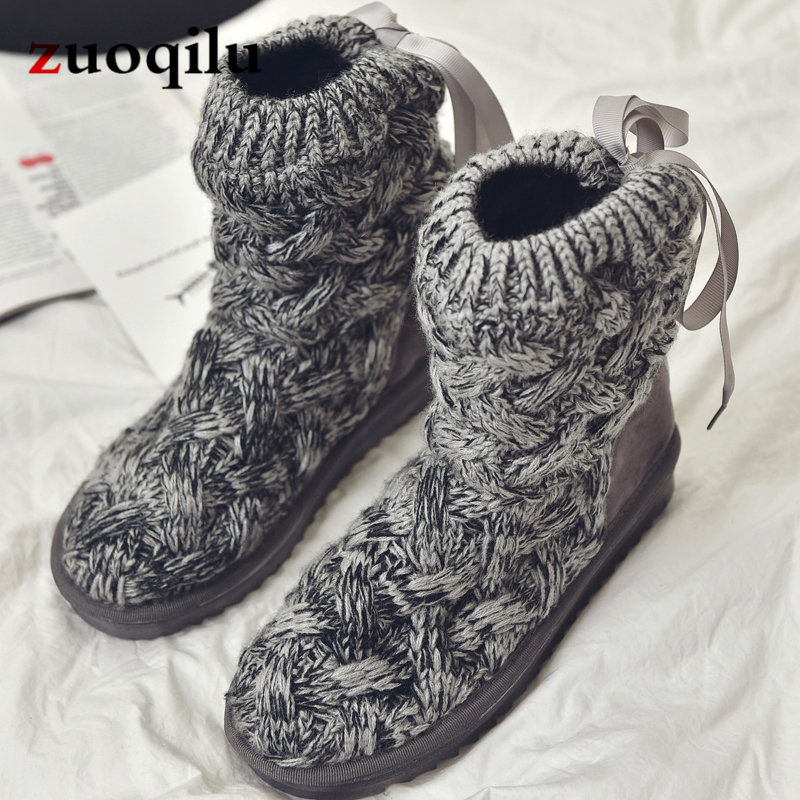 Knitted winter women boots fashion warm snow boots winter ankle boots for women shoes botas femininas de inverno nikbea brown ankle boots for women vintage flat boots 2016 winter boots handmade autumn shoes pu botas feminina outono inverno