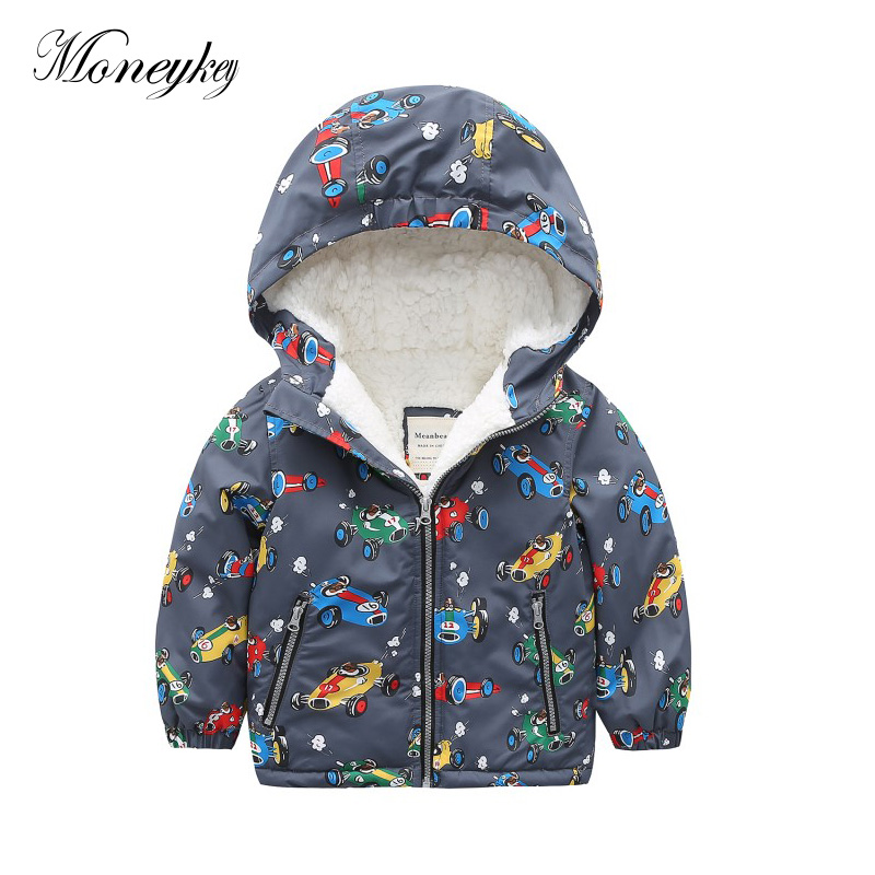 3T-7T Children Jackets Velvet Winter 2017 Animal Ptinted Girls Boys Jacket Coats Fashion Outwear&Coats Kid Jacket For Boy Parkas