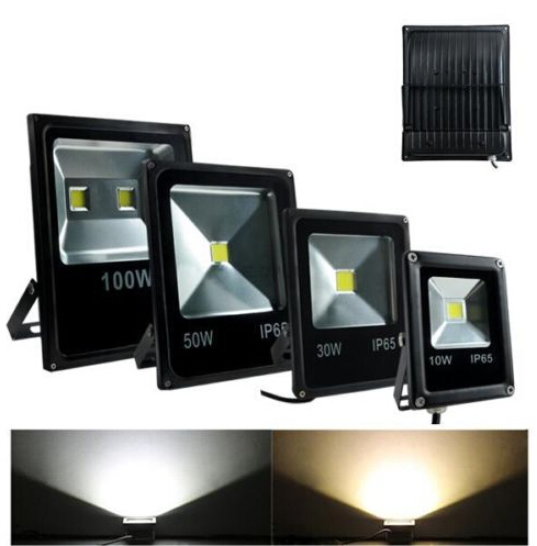 ultrathin LED flood light 10W 20W 30W 50W Black AC85-265V waterproof IP65 Floodlight Spotlight Outdoor Lighting Free shipping