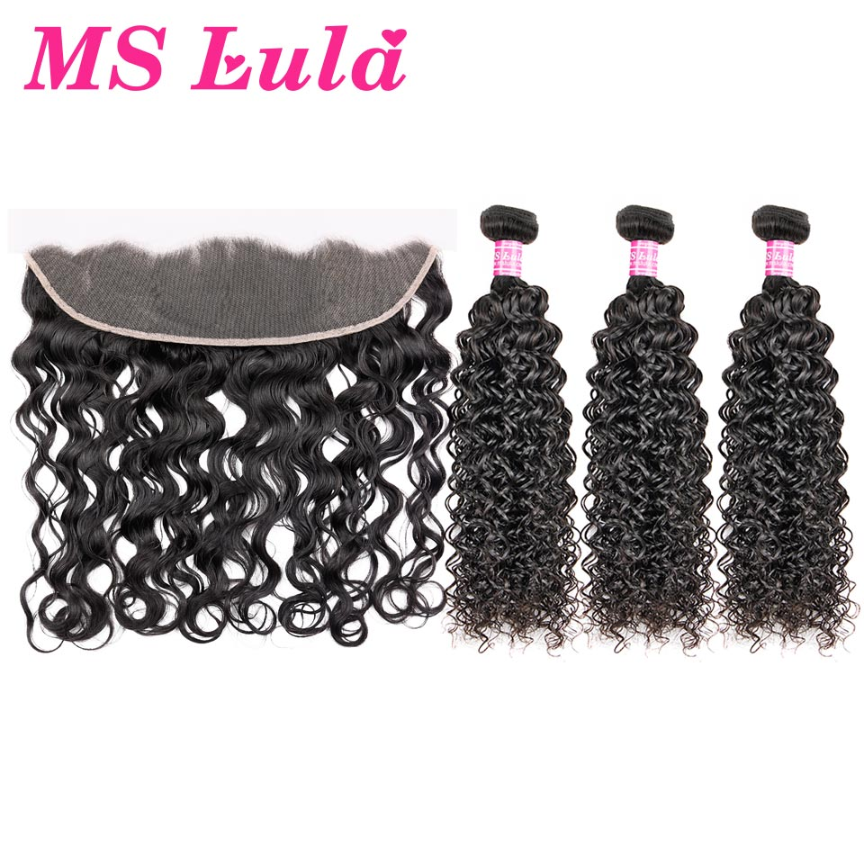 MS Lula Peruvian Hair Water Wave 3 Bundles With Pre plucked Lace Frontal Closure 13x4 100