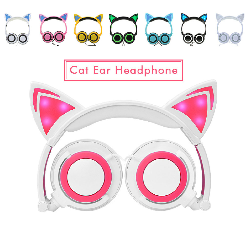 Gaming Headphones Cat Ear Creatives Luminous Earphone Foldable Flashing Glowing Gaming Headset with LED light For Adult Children fashion cat ear headphones led ear headphone cats earphone flashing glowing headset gaming earphones gifts for adult child girls