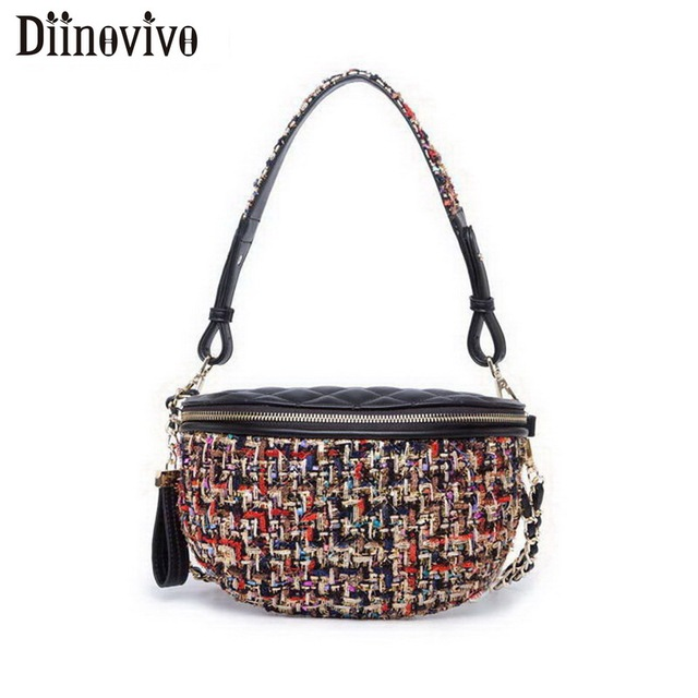 D Multi Use Tweed Knit Plaid Waist Bags New Fanny Packs Fashion Chain Crossbody Bag Women Vintage PU Belt Bag Belly A003