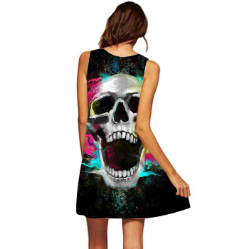 Colorful Skull Head Howling 3D Women Dress Tunic Sleeveless A Line Mini Party Dress Bone Skeleton Robe Femme Summer Beach Jurken 1