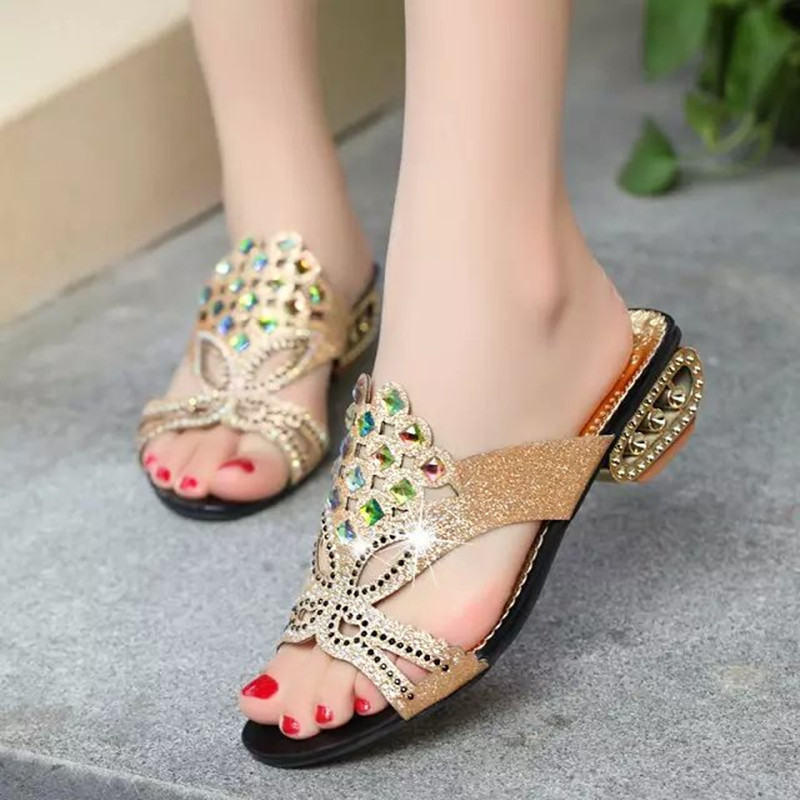 Woman Sandals Shoes 2017 Summer Style Wedges Pumps High Heels Rhinestone Gladiator Sandals Shoes Women Fashion Slippers Shoes 2017 suede gladiator sandals platform wedges summer creepers casual buckle shoes woman sexy fashion beige high heels k13w