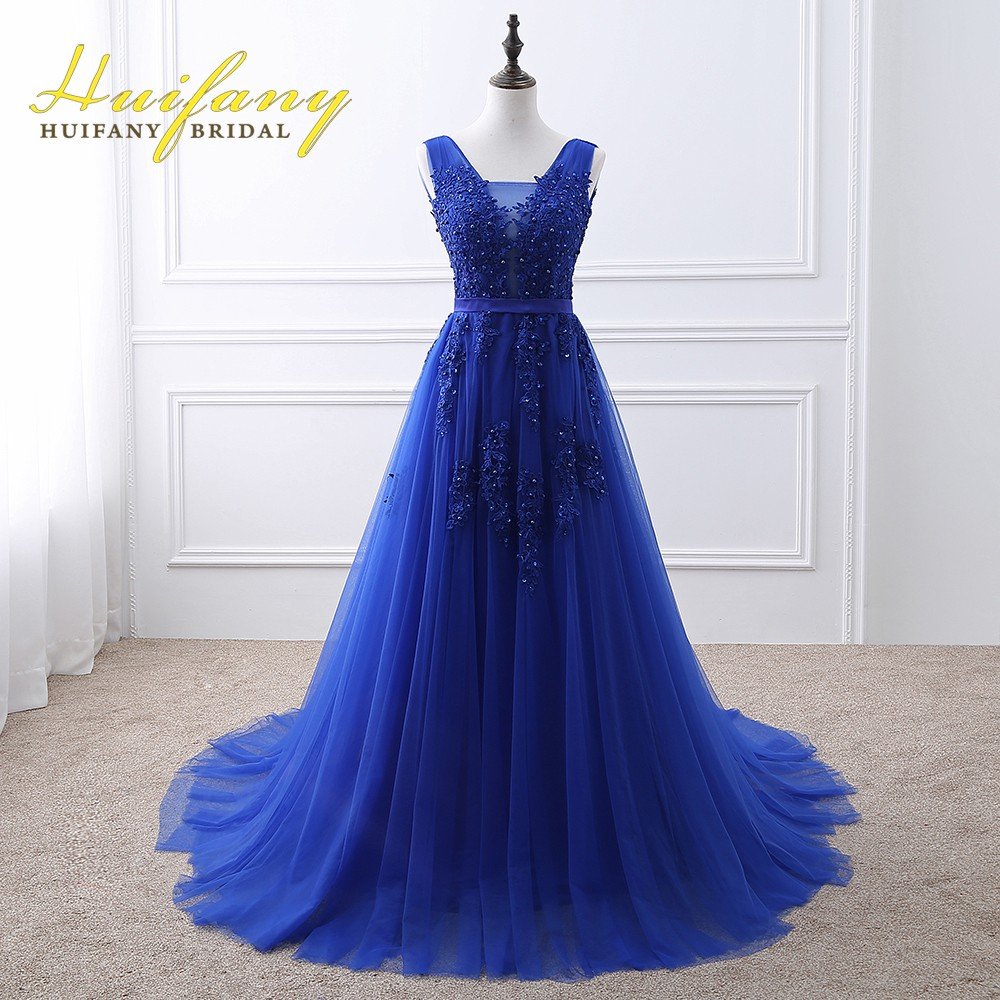 Vestido De Festa2017 Red/Royal Blue/Pink Lace Appliqued Beaded Long Evening Dress  Formal Prom Party Gowns Vestido Longo