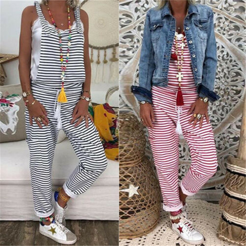 Summer Striped Print Overalls Women Dungarees Harem Strap Long Pants Jumpsuits Loose Backless Overalls Baggy Sleeveless Playsuit