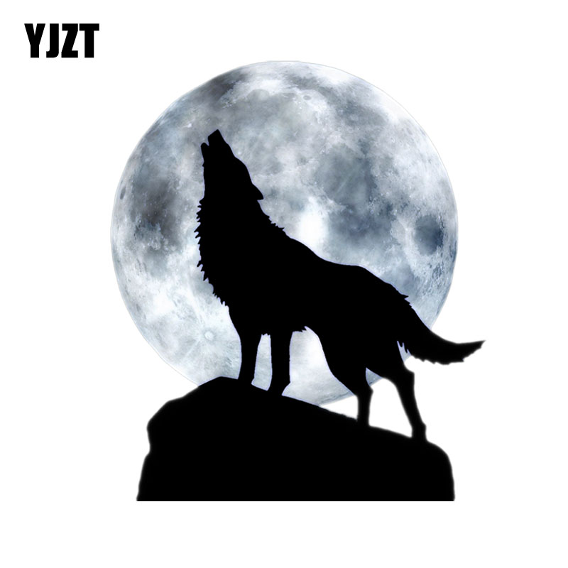 YJZT 12.8CM*15CM Full Moon Howl Wolf PVC Motorcycle Car Sticker 11-00492