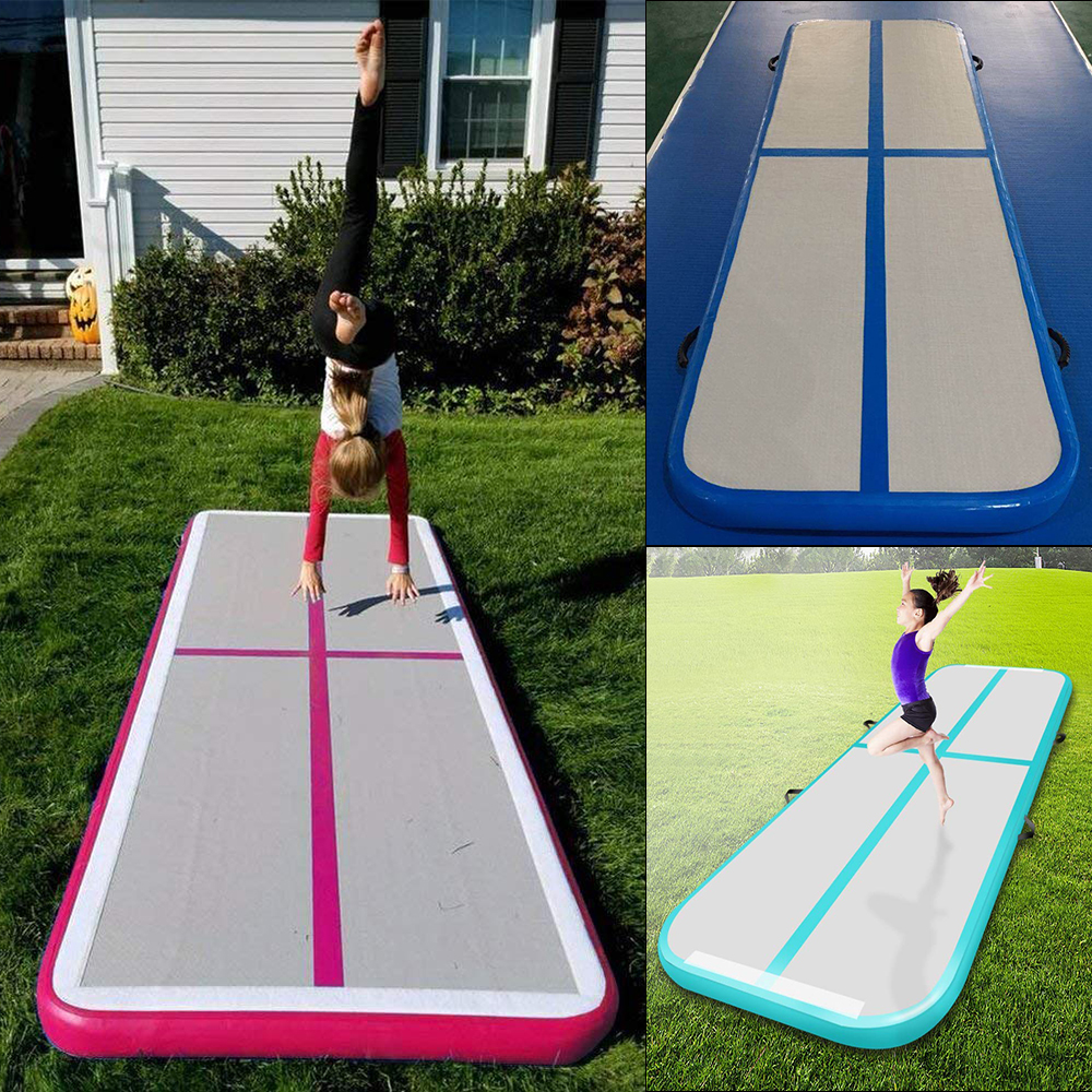 Inflatable Gymnastics Mattress AirTrack Tumbling Air Track Trampoline Electric Air Pump for Home Use/Training/Cheerleading/Beach