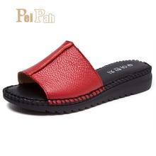 Купить с кэшбэком PEIPAH Classic Handmade Genuine Leather Women Slippers Solid Slip On Summer Shoes Women Flip Flops Retro Sewing Female Slippers