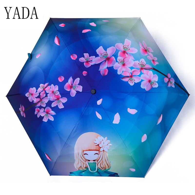 YADA Mini Flower & Girl Pattern Folding Umbrella Rain Women brand Womens Pocket high quality Charm kids Umbrellas YS122