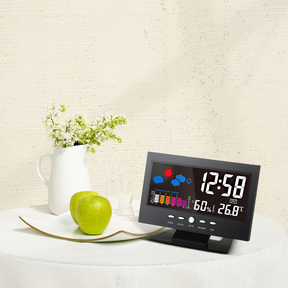 Multifunctional Digital Thermometer Hygrometer Alarm Clock weather Forecast tool Colorful LCD Calendar Vioce-activated Backlight voice control backlight hygrometer thermometer alarm clock with lcd display