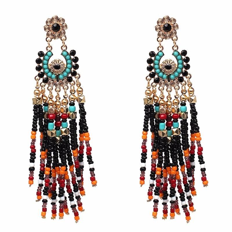 JURAN Big Star Vintage hecho a mano chino viento joyería Bohemia étnico moda resina abalorios en forma de abanico pendientes grandes para mujeres F3405