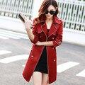 Nova Primavera 2016 mulheres casaco Casaco Trespassado de Slim Trench Coat Para As Mulheres Faixas Casaco Feminino Blusão Mulheres A420
