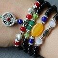 6mm Black Agate Bracelet Vajra Bodhi Pestle Pendant Opal Jade Beads Jewelry Bracelet Multilayer Chain Necklace Natural Stone