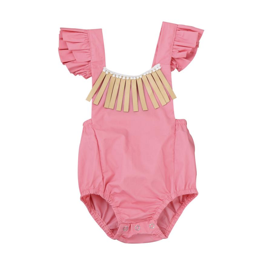 Baby Grils Rompers Summer Cotton Clothing Pink Solid Ruched Tassel Sleeveless Onepiece for Daily Sweet Casual 6M-24M Kids 18Apr5