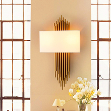 Nordic Modern LED Wall Lights Bedroom Bedside Room Lighting Lamp Gold Iron Lampshade Walking Decorative Avize