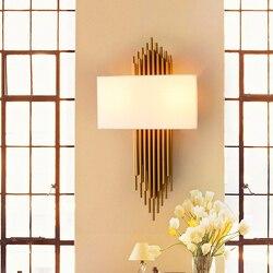Nordic nowoczesny doprowadziły kinkiety sypialnia lampki nocne oświetlenie lampy kryształowe ściany złota żelaza abażur do chodzenia oświetlenie ścienne dekoracyjne Avize|Wewnętrzne kinkiety LED|   -