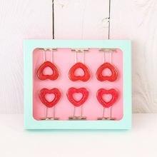 Японская пачка 6 шт/кор розовый зажим с сердечками ажурные металлические