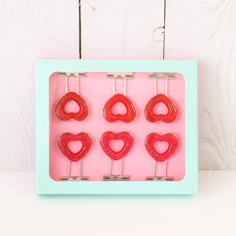 TUTU Japanese 6 Pcs/box Pink Clip Heart Hollow Out Metal Binder Clips Notes Letter Paper Clip Office Supplies FOD H0275