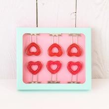 купить TUTU Japanese 6 pcs/box Pink Clip Heart Hollow Out Metal Binder Clips Notes Letter Paper Clip Office Supplies FOD H0275 дешево