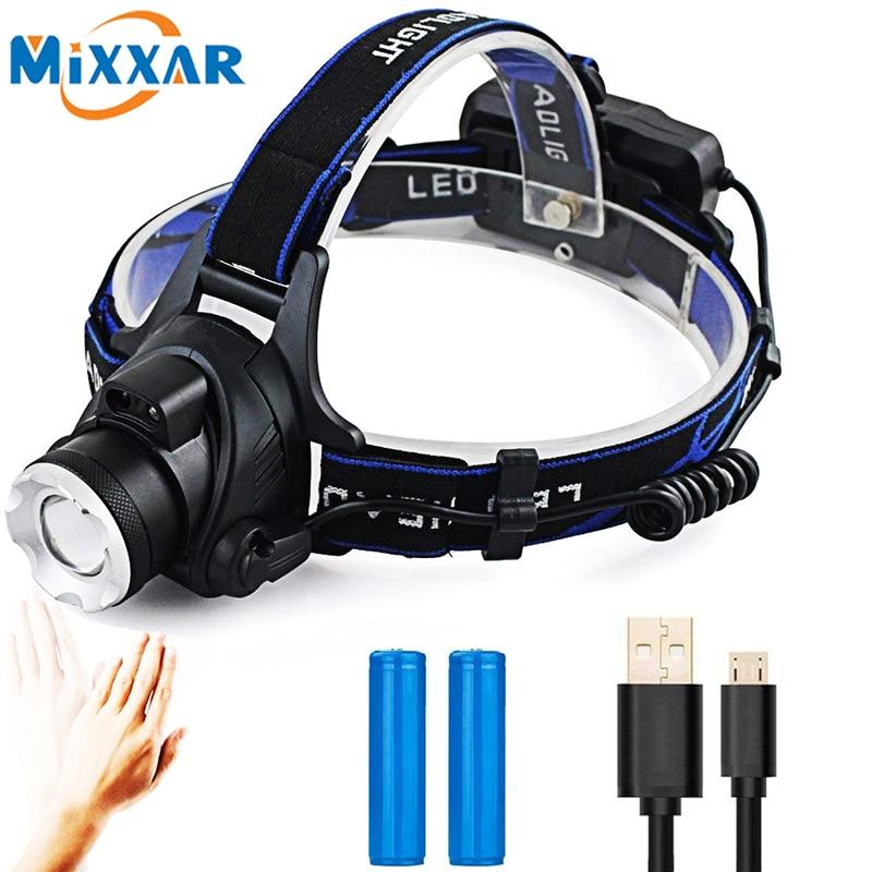 T6 L2 V6 LED Headlamp Rechargeable Sensor Zoom Headlight Running Camping Head Lamp/Light/Torch Lantern Lampe Frontale