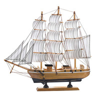 Mediterranean Style Home Decor Vintage Wooden Sailing Ship Boat Figurines Crafts Home Decoration Miniature Kids Christmas Gifts