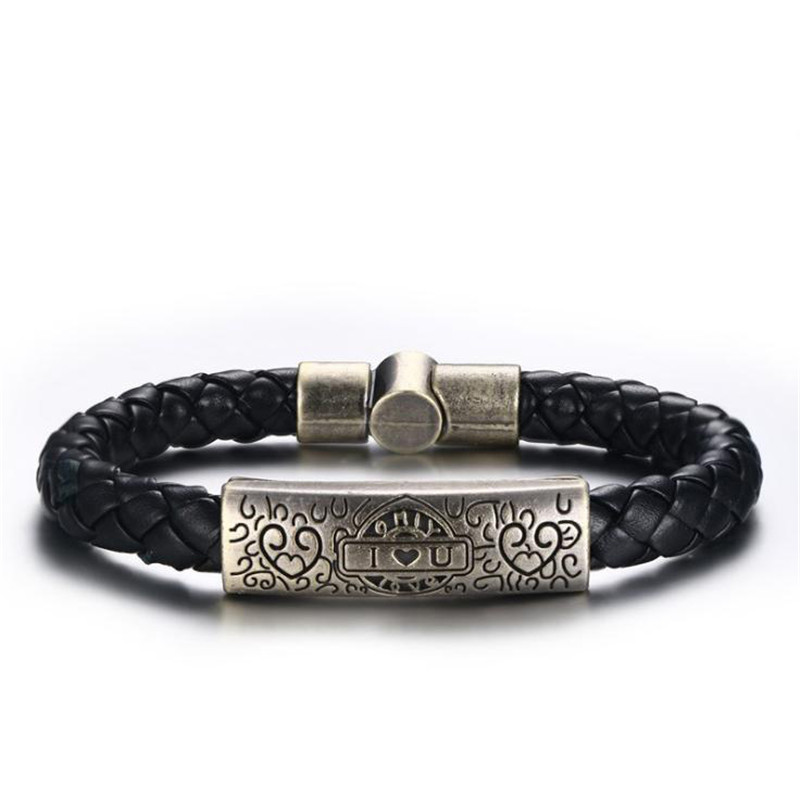 Men's Alloy woven PU leather rope love bracelets 8MM Black PU leather rope Curved plate heart I LOVE U bracelet boyfriend gift