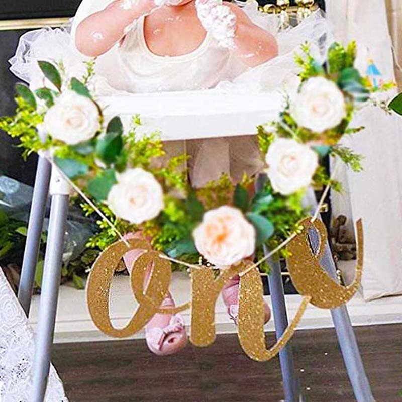 WEIGAO Glitter Gold 1st วันเกิด Highchair แบนเนอร์สำหรับเก้าอี้สูงป้าย Baby First Birthday One แบนเนอร์ Photo Prop Party ตกแต่ง