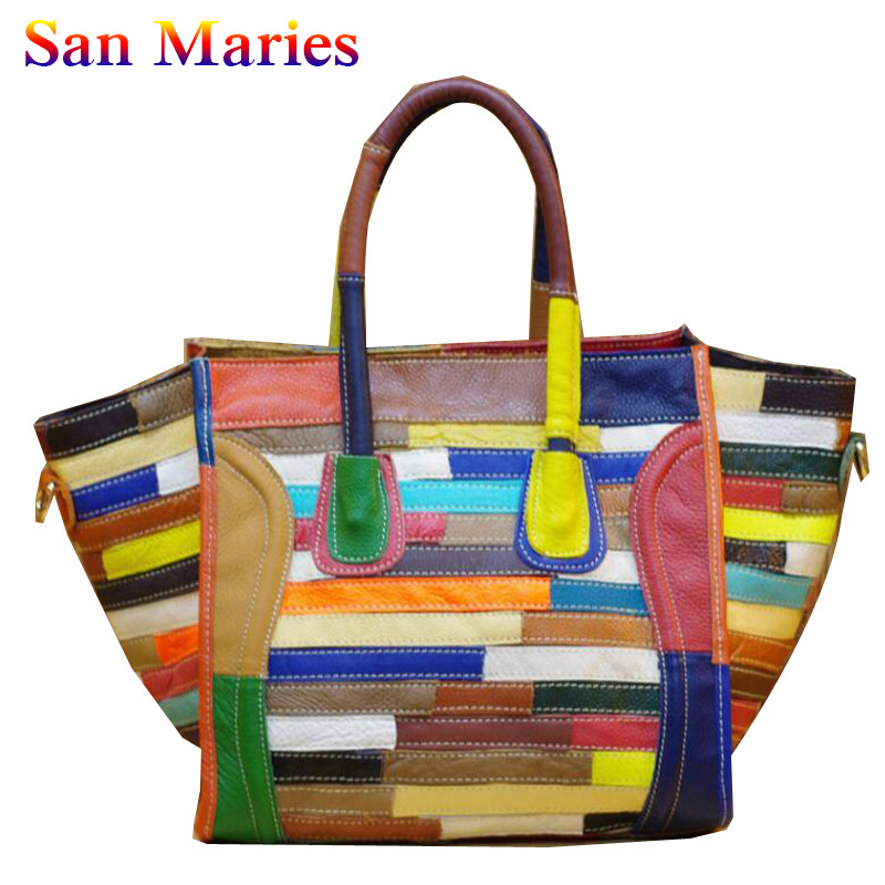 San Maries Fashion Leather Bags Colorful Stripes Patchwork Handbags Shoulder Bag for Women 2019 Ladies Casual Cowhide ToteSan Maries Fashion Leather Bags Colorful Stripes Patchwork Handbags Shoulder Bag for Women 2019 Ladies Casual Cowhide Tote