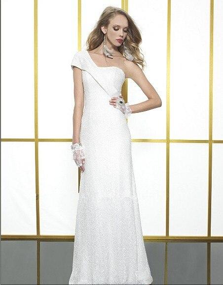 vestido de noiva free shipping elegant sheath features one shoulder detailing subtle sequin bridal gown 2018   bridesmaid     dresses