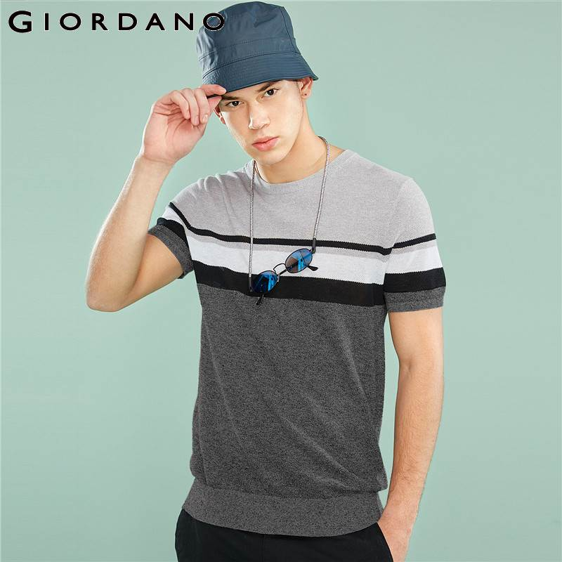 Giordano Men Tshirt Natural Linen-cotton Fabric Contrast Color Design Knitted T-shirt Men Ribbed O-neck Fashion New Arrivals