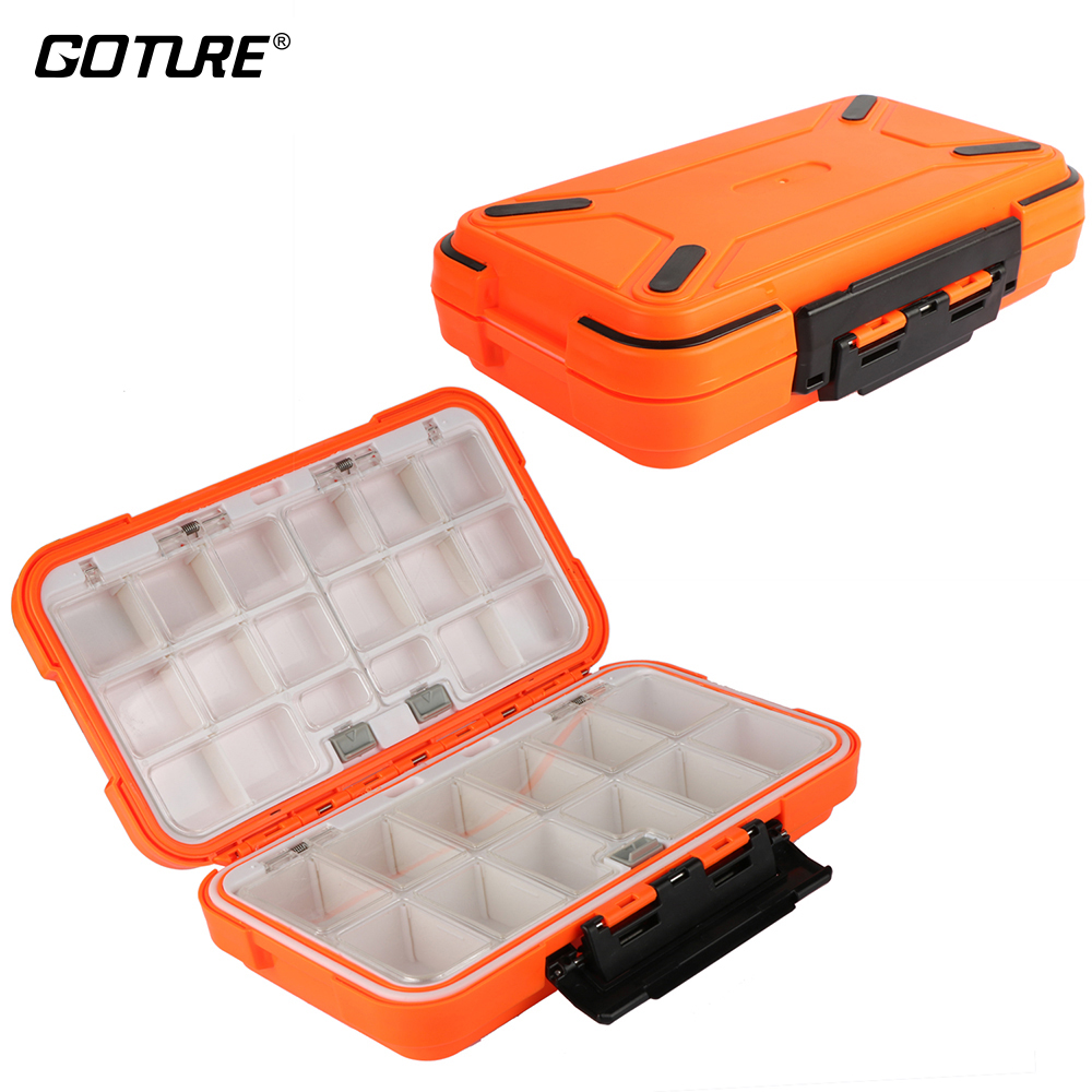 Goture High Quality Plastic Fishing Tackle Box Double Layer Lure Fishing Box Carp Fishing Accessories Equipment Storage