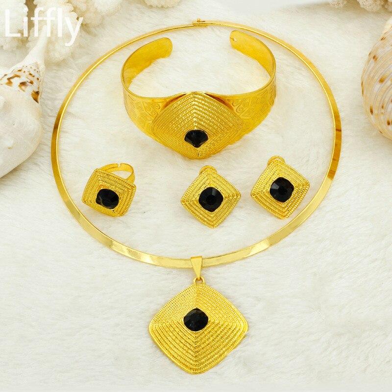 620ee853cfae Liffly Dubai conjuntos de joyas de oro para mujeres de moda de la boda de  novia joyería Africana grande colgante