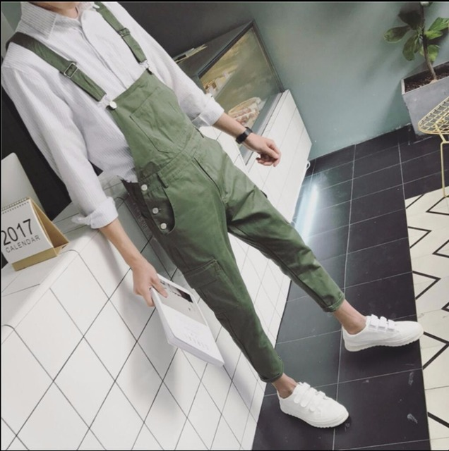 054a098d758 HOT New Spring gd solid color bib pants men teenage casual all-match  spaghetti strap tooling jumpsuit hairstylist tide costumes
