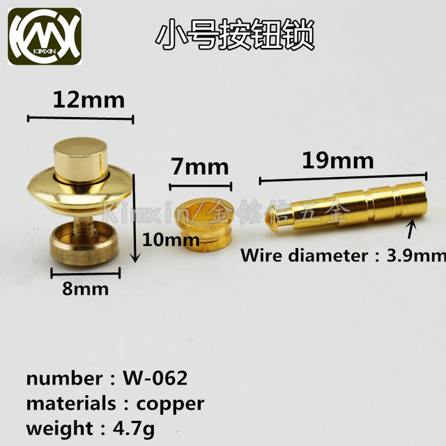 10pc/lot In stock Copper material dark lock button lock Wooden box hardware accessories Box Lock watch box stretch lock W 062