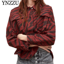 YNZZU 2019 Autumn Animal print oversize women jackets Asymmetric hem vent Chic denim coat Causal long sleeve jeans outwear YO817