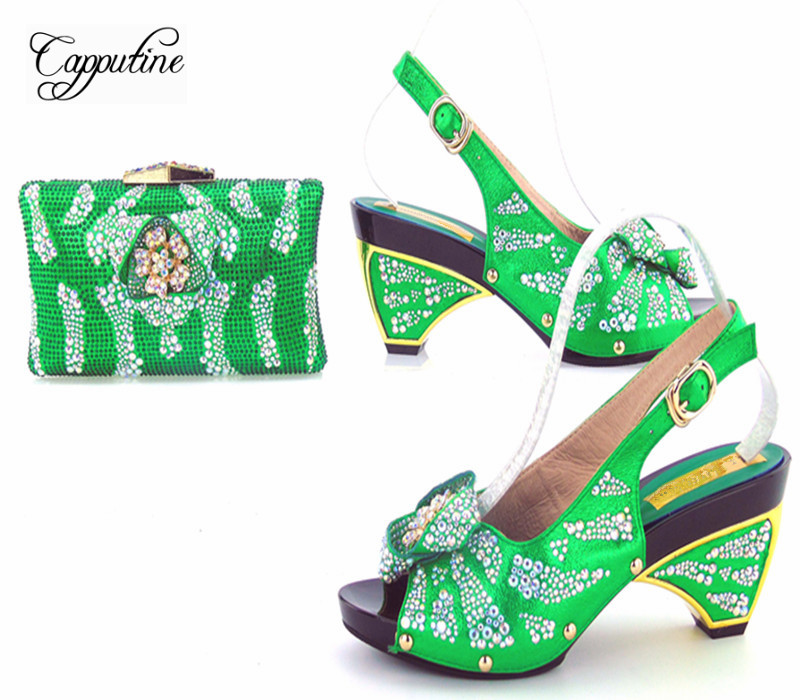 Capputine Italian Style Woman Green Color Shoes And Shopping Bag Set For Party African Rhinestone Woman Pumps Shoes And Bag Set capputine new italian woman pu leather shoes and shopping big bag set african fashion high heels shoes and bag set for party