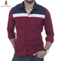 Men Shirt Luxury Brand 2016 Male Long Sleeve Shirts Casual Mens Fashion Spell Color Slim Fit