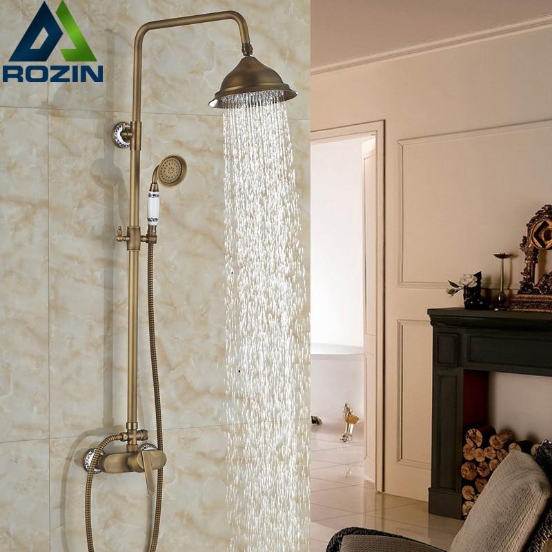 Luxury New Bathroom Wall Mount 3-functions Rotate Tub Spout Bath & Shower Faucet Set Dual Handles + Ceramic Handshower