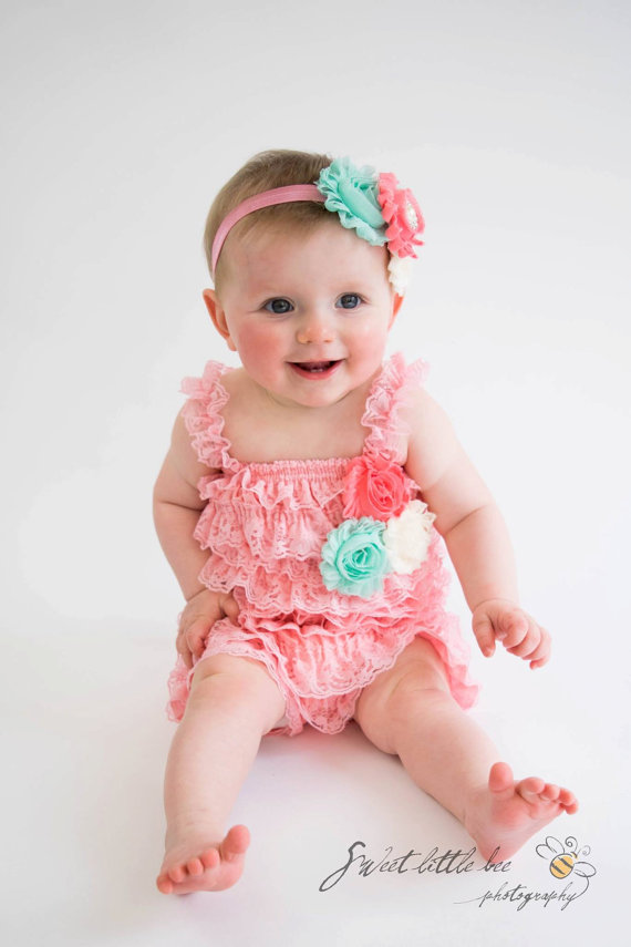 59655e58a73 Light Pink Lace Ruffled Romper flower Girls lace romper One Piece Ruffles  with Satin Bow for Baby Girls Toddlers Easter outfit-in Rompers from Mother    Kids ...