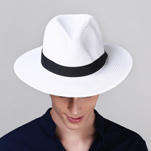 Adult Panama Sun Cap Wide Brim Straw Sunscreen Cap Prevented Bask Holiday Leisure Summer Sunscreen Straw Sun Cap B-8258